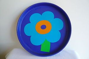 Vintage MOD Flower tin metal round tray Danish Laurids Lonberg