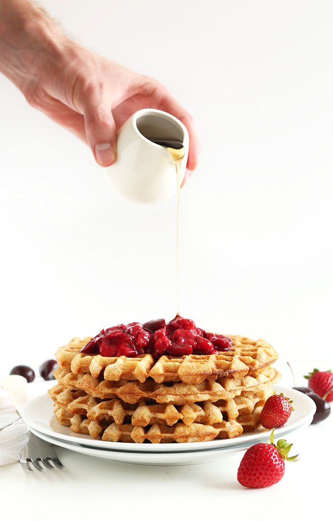 7 Ingredient Vegan Gluten Free Waffles! Crispy, healthy, freezer-friendly and just ONE BOWL required! #vegan #glutenfree #vegan #recipe #vegetarian #recipes