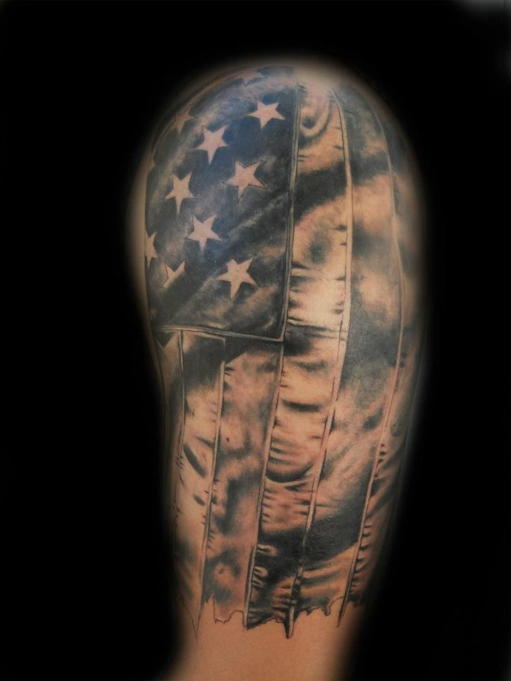 shaded us flag sleeve american flag tattoos