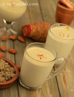 This fresh, homemade Thandai tastes absolutely heavenly, far superior to the readymade mixes available in the market. Milk, energised with almonds and spices, Thandai is the perfect drink to serve on special days and festive occasions like Holi and Diwali. The aroma of fennel, cardamom, pepper and saffron rise atop the dense flavour of fully boiled milk, to pamper the senses and rejuvenate the spirit. You can strain the mixture before serving if you want it smooth, but if you like the…