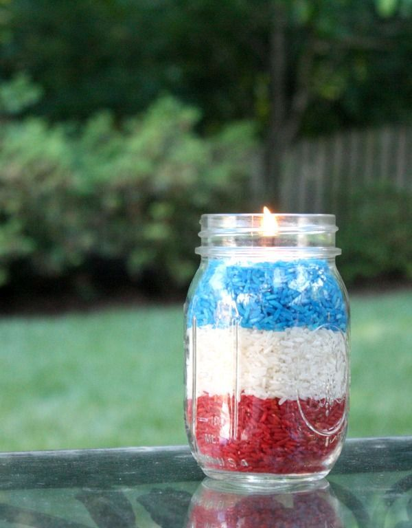 DIY Memorial Day Decorating Ideas: How To Make Patriotic Votives with Rice and Food Coloring