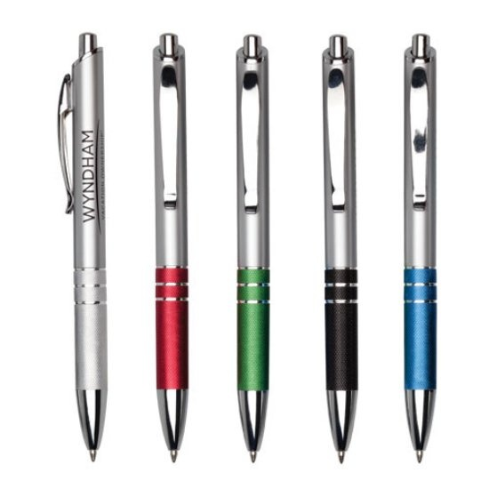 Plastic click-action ballpoint pen with chrome trim and textured metal comfort grip, starting at $0.75