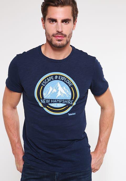 SLIM FIT - T-shirt z nadrukiem - dark sapphire - Zalando.pl
