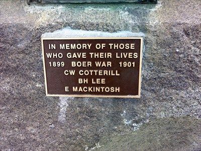 """284 Canadians died during the Boer War, of which three are honored here:  In Memory of Those  Who Gave Their Lives 1899 Boer War 1901 CW Cotterrill BH Lee E Mackintosh  """"The first contingent of 1,000 troops sailed from Quebec City 100 years ago, on Oct. 30, 1899. Another 7,638 young soldiers and 12 nurses followed over the next 2½ years. Their destination: South Africa, to join British Rossland Cenotaph - Boer War - Rossland, British Columbia - Boer Wars Memorials and Monuments on…"""