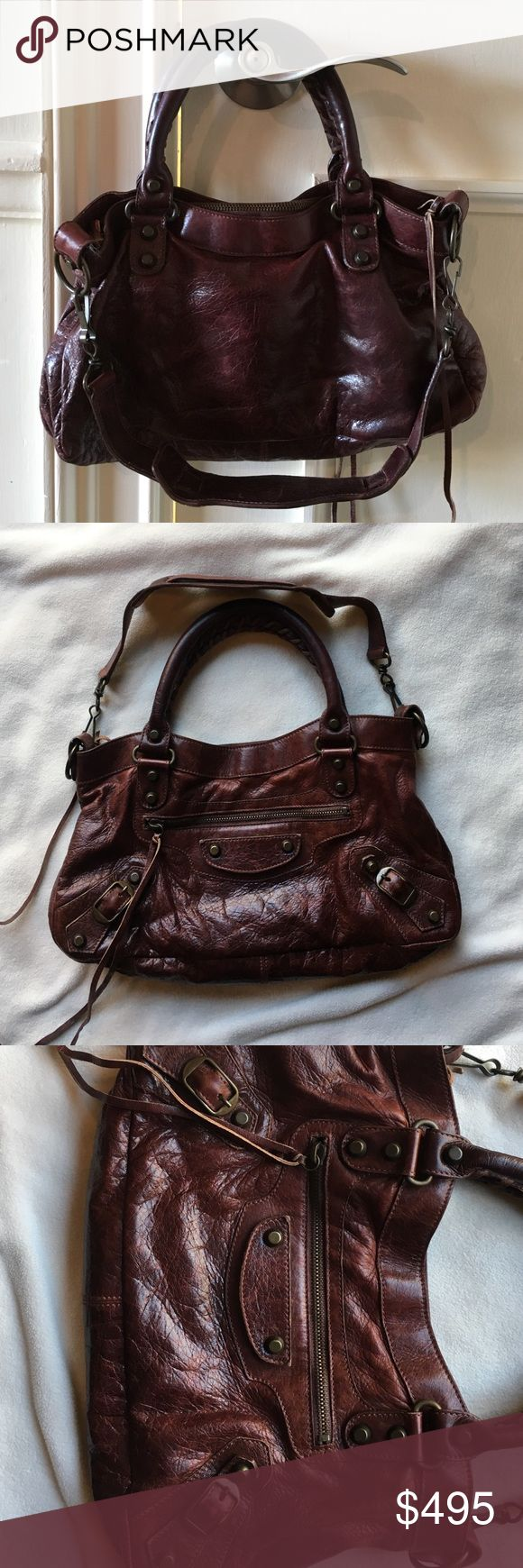 """100% Authentic Balenciaga Motorcycle Mini Beautiful, brown/burgundy. Like new condition, """"very"""" gently used. No visible wear. Super clean inside with pocket mirror. Non-Smoking home! Balenciaga Bags Shoulder Bags"""