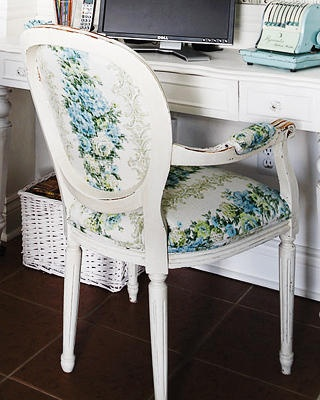 Blue Floral Fabric Chair