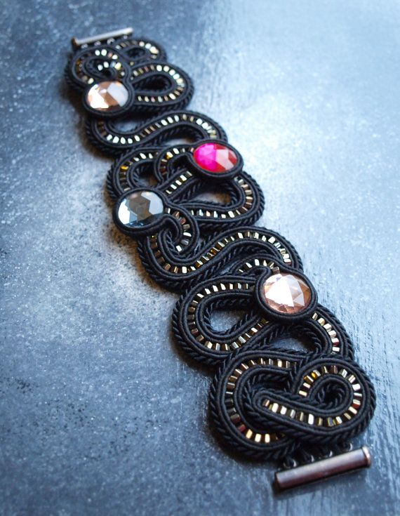 Soutache cuff bracelet with crystals.