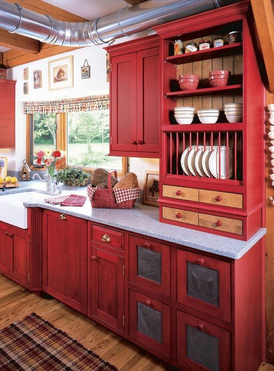 red cabinets country kitchen - Tiny Country Kitchen Design Ideas