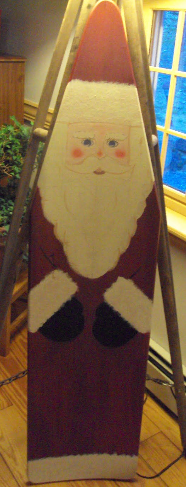 painted wood ironing board | This wooden ironing board I paid 20.00 to have this Santa put on it ...