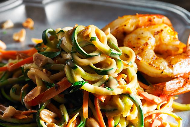 Peanut Zucchini Noodles made using the KitchenAid® Spiralizer Attachment with Peel, Core and Slice. Click the picture for the recipe and visit http://kitchen.ai/SH0R6 for more information on the Spiralizer Attachment.