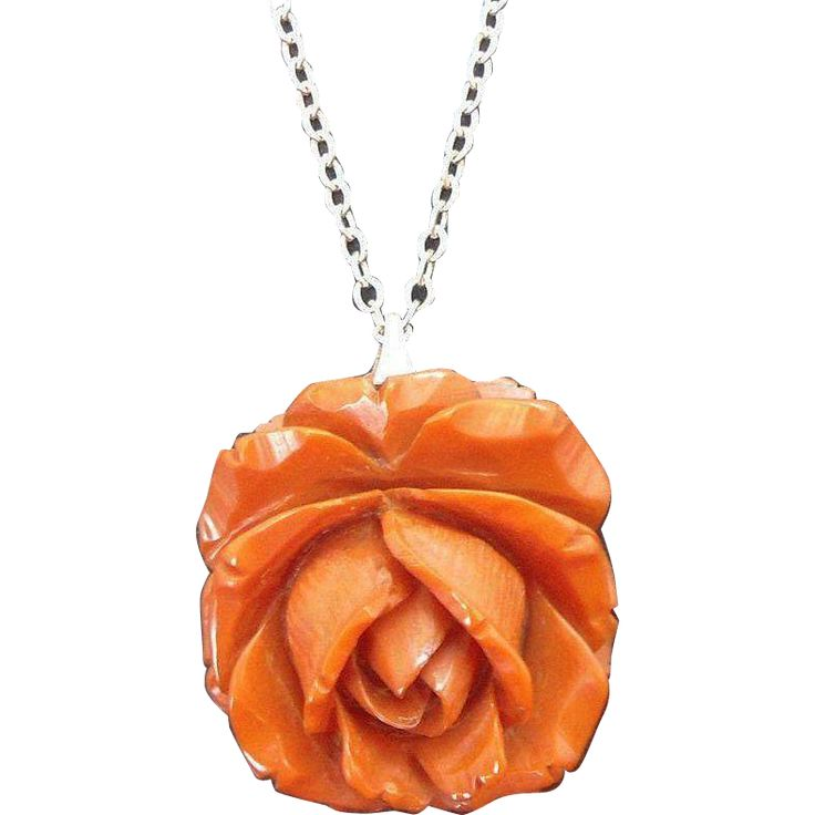 Vintage Carved Butterscotch Bakelite Rose Pendant on Silvertone Metal Chain found at www.rubylane.com #vintagebeginshere https://www.rubylane.com/item/136230-E10985/Vintage-Carved-Butterscotch-Bakelite-Rose-Pendant?search=1