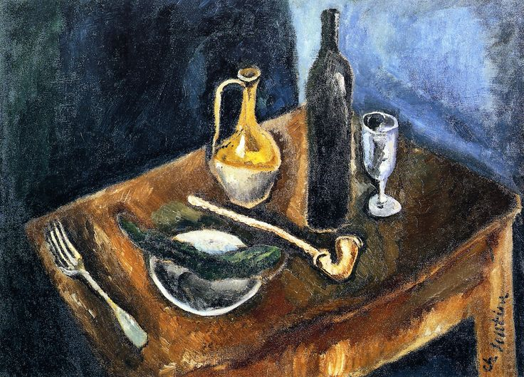 chaïm soutine(1894-1943), still life with pipe, c. 1916. oil on canvas, 54 x 94 cm. musee d'art moderne de troyes, france http://www.the-athenaeum.org/art/full.php?ID=56405