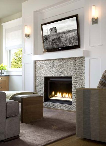 Tiny mosaic tile surround for gas fireplace insert bliss Fireplace surround ideas
