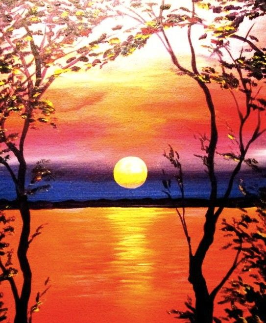 """Join us at Hard Rock Cafe Four Winds for the """"Vivid Sunset"""" themed Wine & Canvas event on January 21, 2015. Book your seat at http://wineandcanvas.com/wine-and-canvas-calendar-south-bend-in.html"""