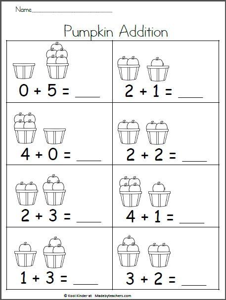 Pumpkin Addition up to 5 - Fall Math Worksheet ...
