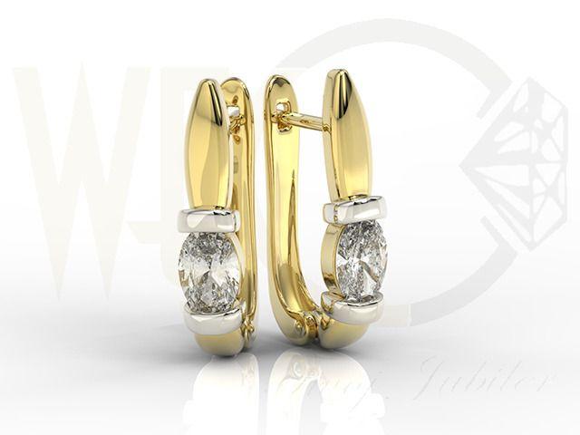 Kolczyki z żółtego złota z cyrkoniami./Earrings of yellow gold with zircons.