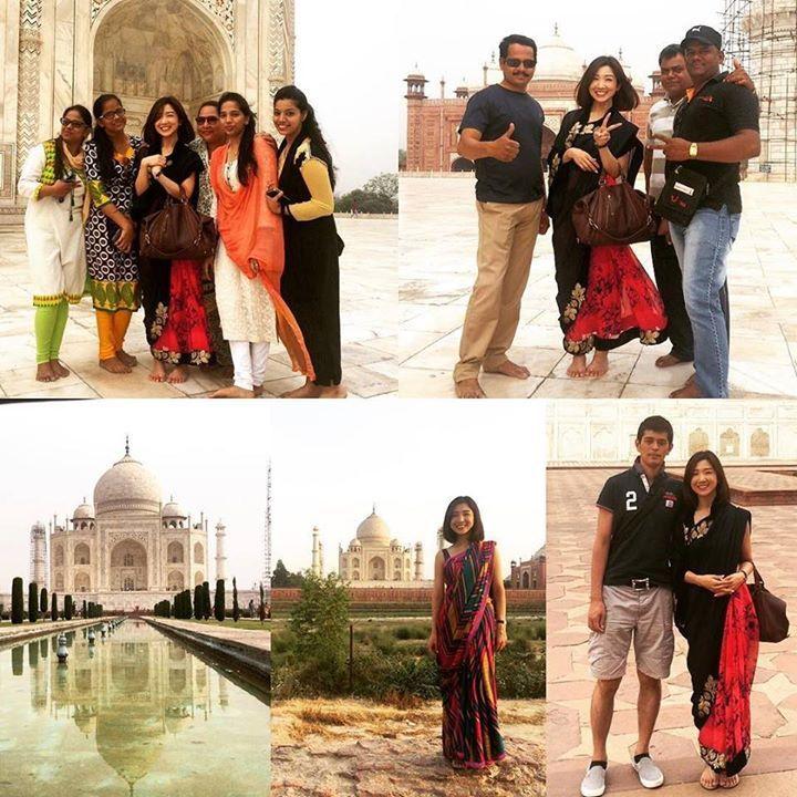 by @sako0921 #mytajmemory #IncredibleIndia #tajmahal インドと言えばやっぱりタージマハル 圧巻荘厳その言葉がぴったり遠くから見ても近くから見ても二回目でもやっぱり感動しました郷に入っては郷に従えという事でただコスプレがしたかっただけですがサリーを着て観光したところ現地の方にとても喜んでもらえたくさんの方と一緒に写真を撮りましたサリーは日本の着物と同じで娘が大人になると母親が娘に着方を教えてあげるそうなのですが若い世代の人たちはサリー離れとなり着る機会も徐々に減っているそうです ちなみにこれらの写真の中の一人は私の夫ですが今日も夫はインド人に間違えてられました #アグラ #agra #india #tajmahal #タージマハル #インド