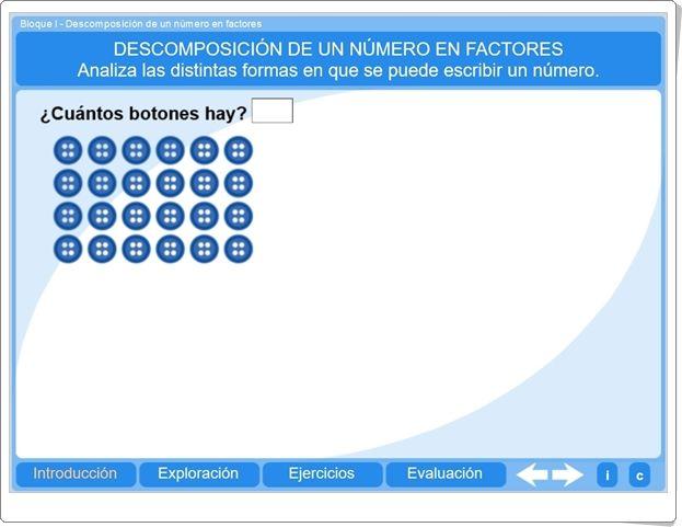 """""""Descomposición de un número en factores"""" (Actividad interactiva de Matemáticas de Primaria)"""