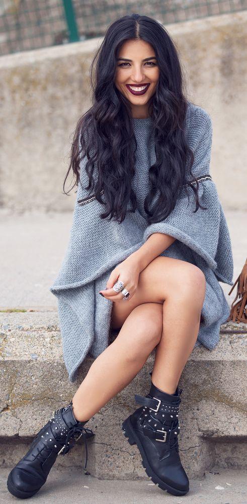 Grey Knit Poncho by Duygu Senyurek