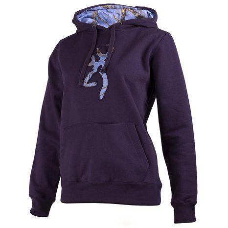 Browning Women's Mossy Oak Cornflower Camo Buckmark Hoodie Sweatshirt Nightshade