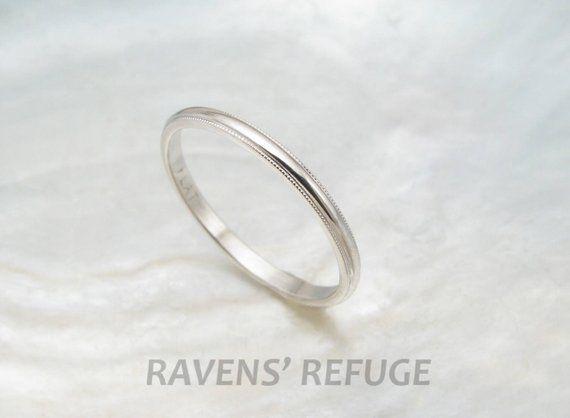 Dainty Wedding Ring Women S Platinum Wedding Band With Etsy Dainty Wedding Ring Platinum Wedding Band Pink Morganite Engagement Ring