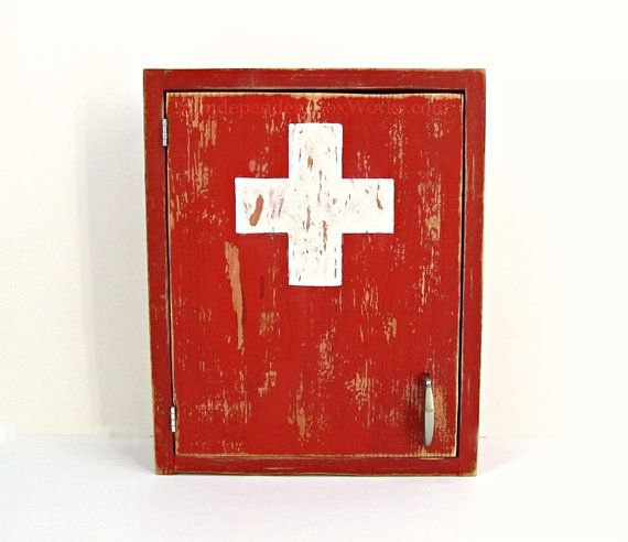 Made To Order Distressed Red Medicine Cabinet Painted White Cross First Aid Cabinet