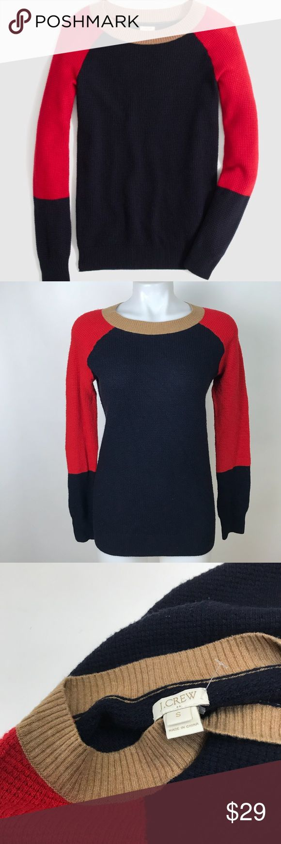 """J. Crew Factory Warmspun Waffle Knit Sweater 18"""" pit to pit 25"""" in length 37% viscose 25% nylon 28% merino wool Preowned condition.  Minor polling to fabric. No models/Trades J. Crew Factory Sweaters Crew & Scoop Necks"""