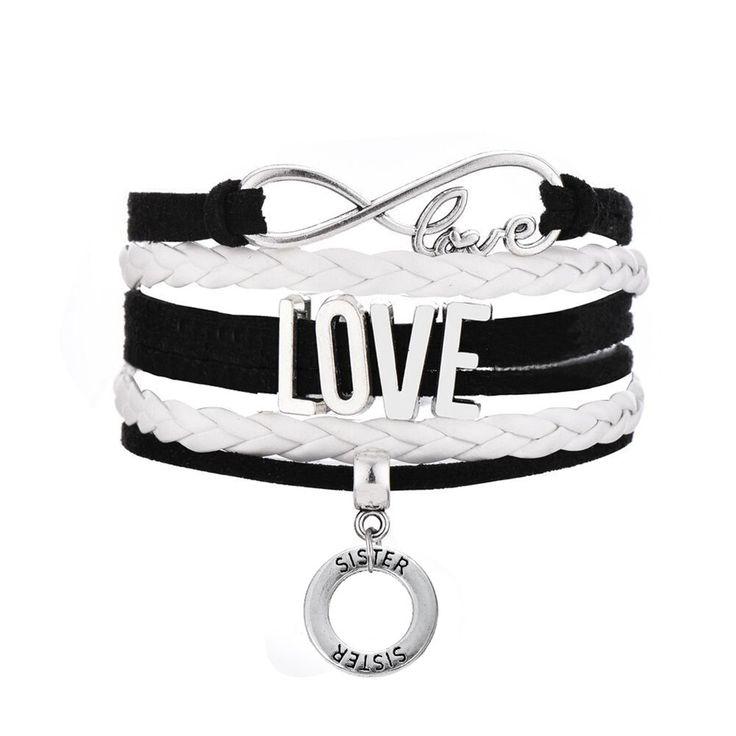 Find More Wrap Bracelets Information about Infinity Love Round Hollow SISTER & Heart SISTER & Rectangle SISTERS Dangle Handwoven Braided Bracelet,High Quality bracelet svarovski,China bracelet jewelry Suppliers, Cheap bracelet infinity from Winslet&Jean on Aliexpress.com