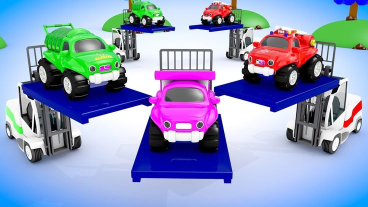 Learn Colors for Children with Forklift Truck Parking Street Vehicles Ki...