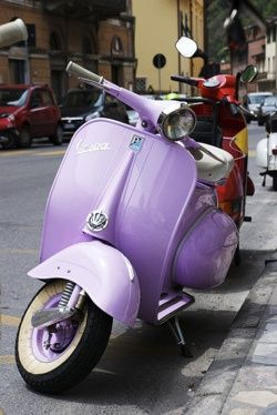 Purple Vespa for around town shopping.
