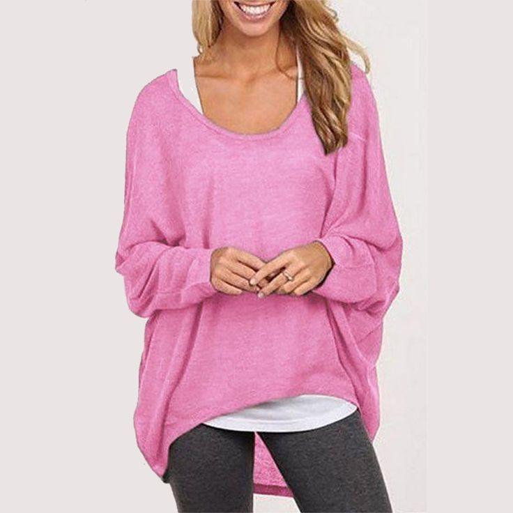 9 Color Hot Sale Women Blouse  Spring Autumn O-neck Batwing Sleeve Tops Casual Solid Loose Shirts Plus Size Blusas - Pink, XXL Like if you remember Visit our store
