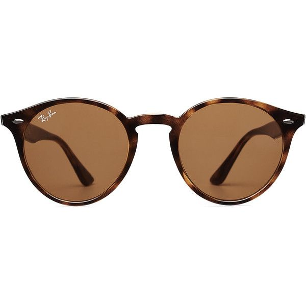 Ray-Ban RB2180 Sunglasses (£76) ❤ liked on Polyvore featuring accessories, eyewear, sunglasses, glasses, brown, logo sunglasses, tortoiseshell glasses, tortoise glasses, tortoise shell sunglasses and ray ban sunglasses