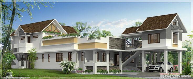 home design: Unusual wide home design - Kerala home design and ...
