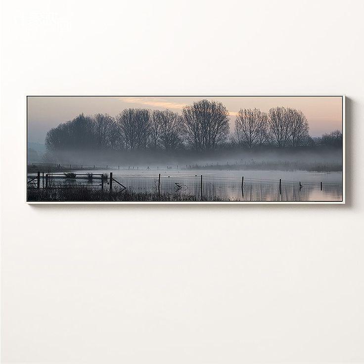Contemporary Landscape Wall Art Premium Canvas Peaceful Lakeside A Extra Large  Dimensions - Landscape 120W x 40H cm
