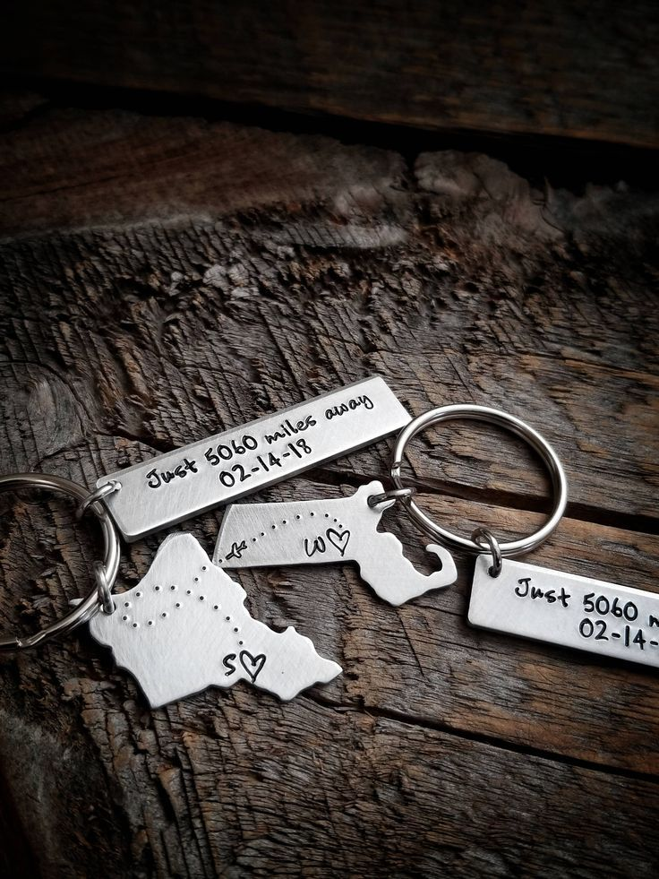 Long Distance Keychain Anniversary Gift for Boyfriend Coordinate Keychain Long Distance Relationship Couple Keychains Miles Away Gift