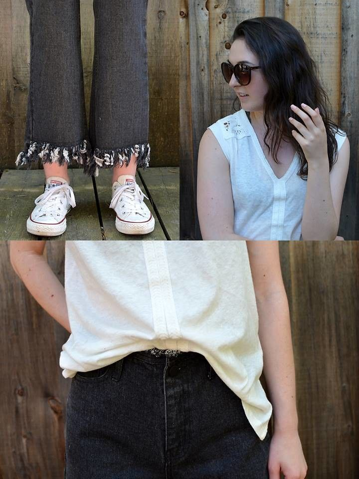 Black Fringed Cotton Casual Jeans