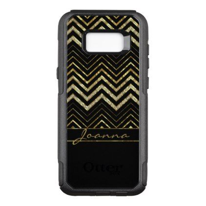 Trendy Diamonds And Gold Chevron OtterBox Commuter Samsung Galaxy S8 Case - trendy gifts cool gift ideas customize