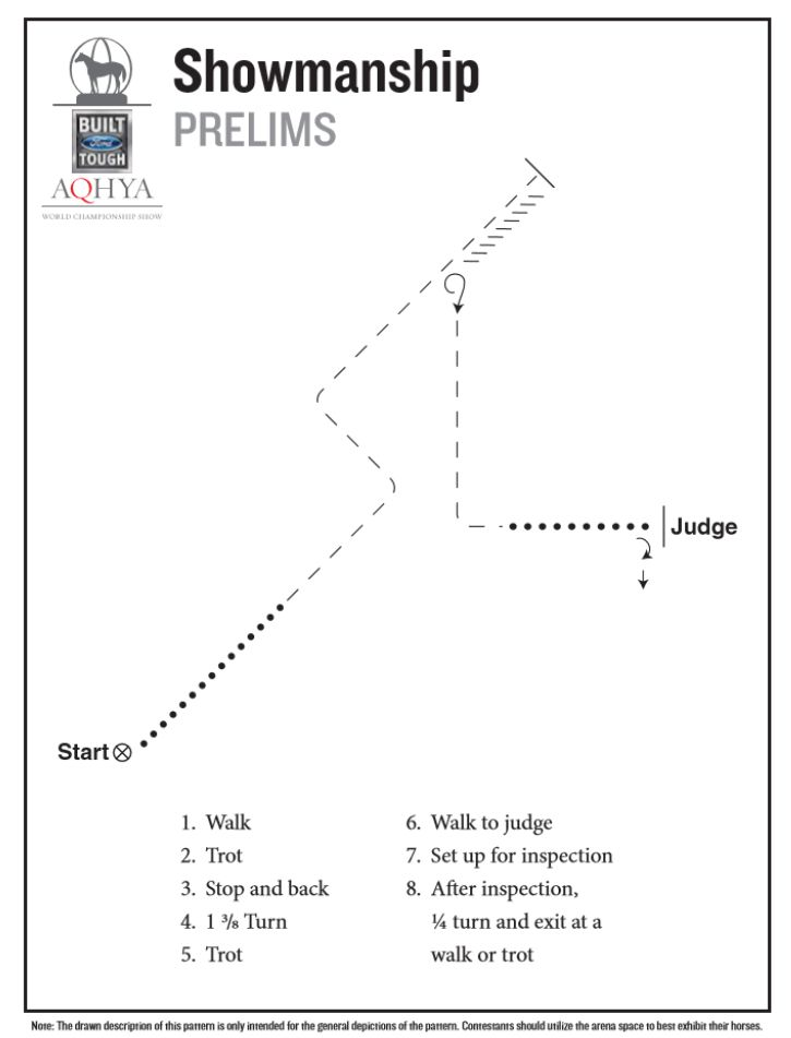 Horse show patterns   Showmanship prelim pattern for the 2016 Ford Youth World.