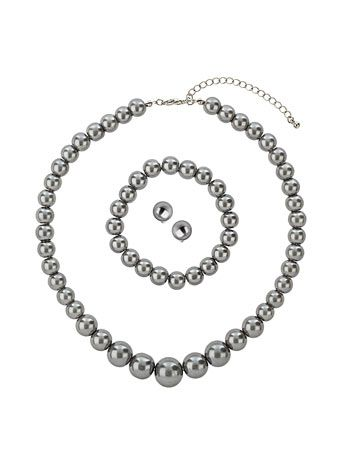 Grey pearl jewellery set