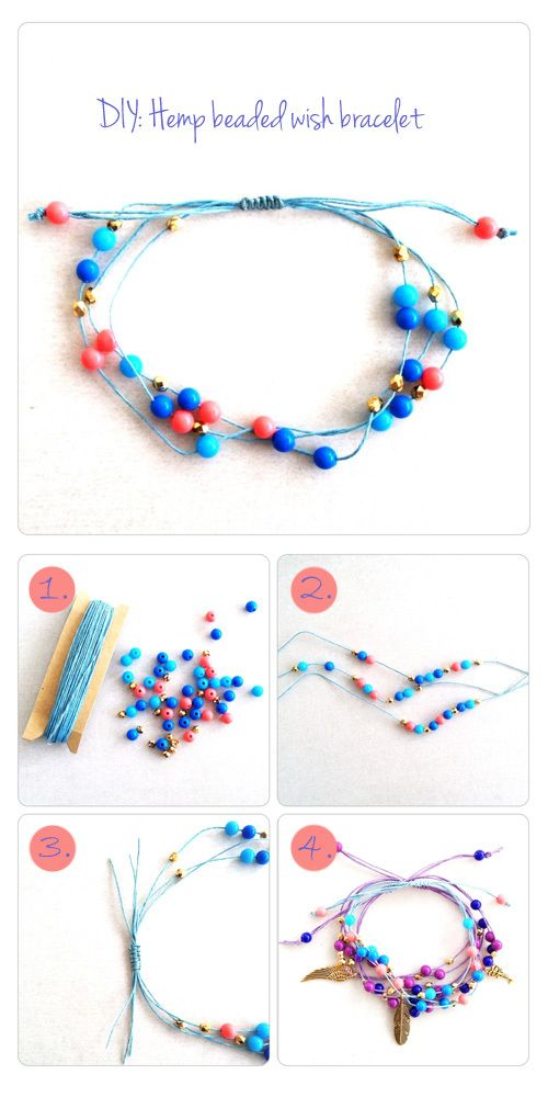 DIY: Hemp beaded bracelet tutorial    What do you girls think of these???  I think they are cute and I could change the look/beads/charms according to each person...and they're adjustable so I don't have to worry about wrist size...I think this one may be a winner...