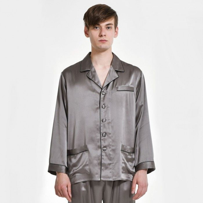 Mens Plus Size Silk Nightwear Pajama Top - OOSilk #silk #sleepwear #nightwear #dressinggown #robe #bathrobe #tops #shorts #pants #trousers #bottoms #pajamas #pjs #set #silky #soft #comfort #breathable #smooth #onlineshopping #women #female #sleep #fashion #womenfashion #ladies #camisole #nightshirt #chemise #nightgown #nightdress #nightie #slip #dress #bedroom