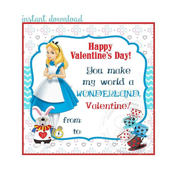 INSTANT DOWNLOAD-Happy Valentine's Tags D.I.Y Tags-Alice