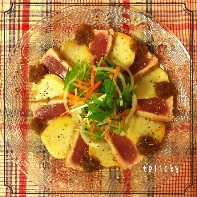 ポテトを添えて( ´ ▽ ` )ノ♡ 前菜のように盛り付けてみました。  シリリちゃん♡ とっても美味しかったです。 素敵レシピをありがとうございます (=´∀`)人(´∀`=) - 158件のもぐもぐ - Siririちゃんのマグロガーリックステーキ*\(^o^)/* by tellcky