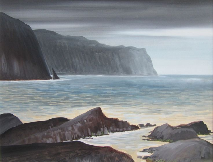 David Blackwood watercolour, Logy Bay, 1972, 17 X 22 inches