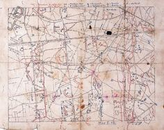 This map was produced by 8th Division and used by Corporal H Kingham, 2nd Battalion, Duke of Cambridge's Own (Middlesex Regiment). It shows the position of barbed wire, dugouts, machine guns, telephones, batteries, dumps and observation posts. Zonnebeke witnessed some of the fiercest fighting of the Battle of Passchendaele of 1917. © National Army Museum (This image is licensed under Creative Commons BY NC SA)