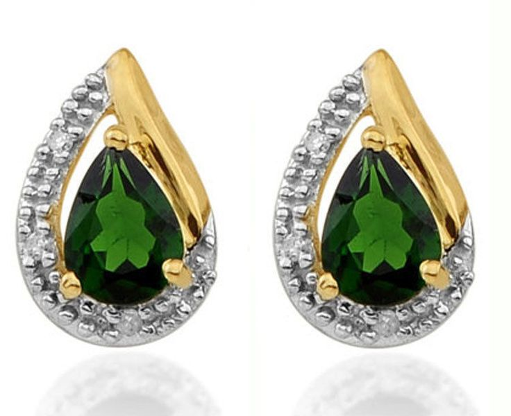 CHROME DIOPSIDE GEMSTONE DIAMOND EARRINGS IN GOLD PLATED 925 STERLING SILVER