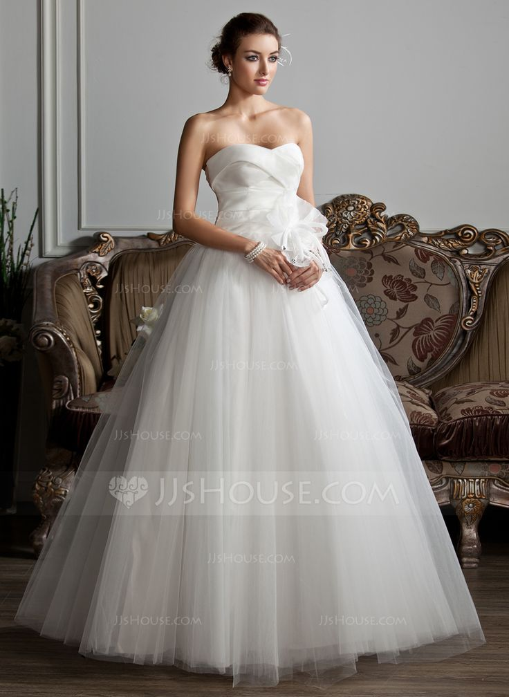 Ball-Gown Sweetheart Floor-Length Ruffle Beading Flower(s) Lace Up Strapless Sleeveless Church General Plus Spring Summer Fall Ivory Organza Tulle Wedding Dress