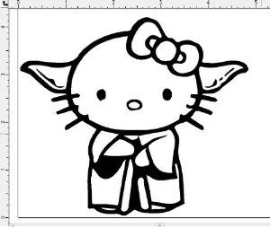 hello kitty like star wars yoda car window vinyl decal sticker you pick color. Black Bedroom Furniture Sets. Home Design Ideas