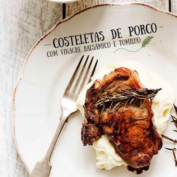 costeletas de porco com vinagre balsâmico e tomilho