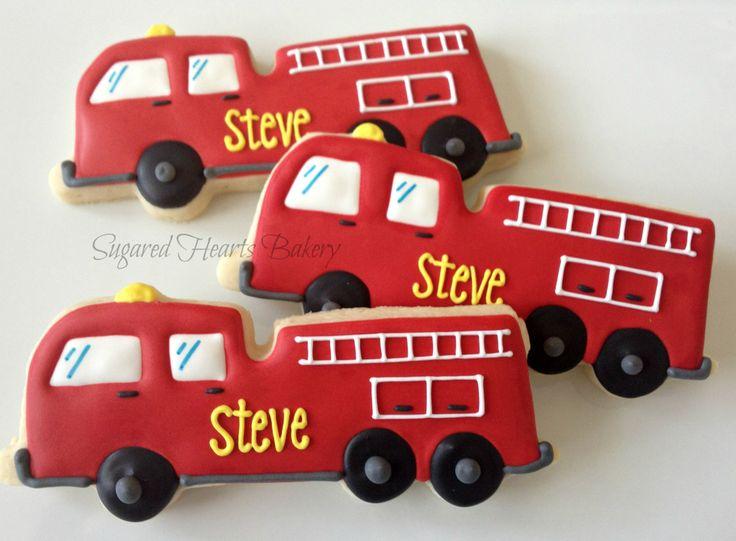 firetruck cookies | Dozen Fire Engine Red Firetuck Cookies by SugaredHeartsBakery